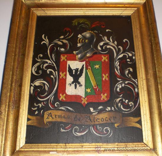 Arte: Antiguo cuadro de escudo de armas.Oleo sobre tabla. S.XIX. ESCUDO DE ARMAS ALCOCER - Foto 2 - 34409580