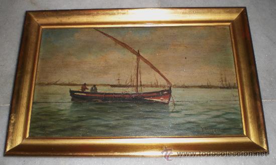 OLEO SOBRE TABLA DE CAOBA, MARINA, S.XIX (Arte - Pintura - Pintura al Óleo Moderna siglo XIX)