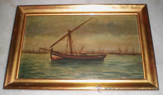 OLEO SOBRE TABLA. MARINA. S.XIX. (Arte - Pintura - Pintura al Óleo Moderna siglo XIX)