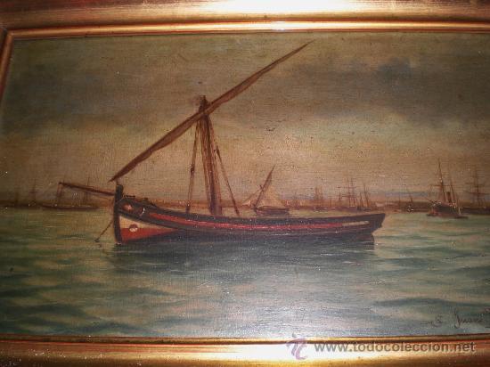 Arte: Oleo sobre Tabla. Marina. S.XIX. - Foto 2 - 34410538