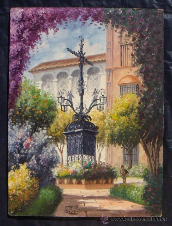 SEVILLA - BARRIO DE SANTA CRUZ - ORIGINAL 1950'S (Arte - Pintura - Pintura al Óleo Contemporánea )