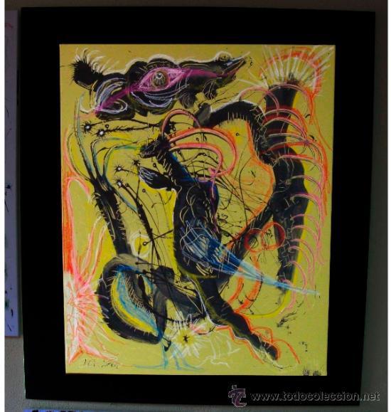 """CUADRO DE RECONOCIDO PINTOR """"DEL VADO"""" VISION NOCTURNA (Arte - Pintura Directa del Autor)"""