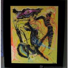 """Arte: CUADRO DE RECONOCIDO PINTOR """"DEL VADO"""" VISION NOCTURNA. Lote 34504619"""