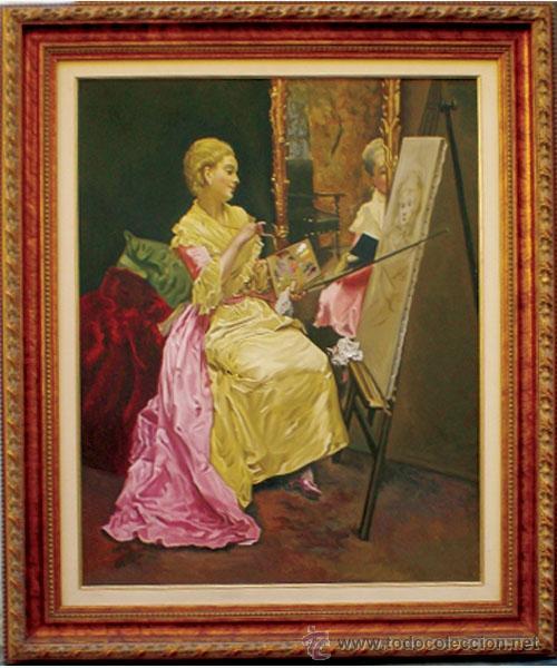 MADRAZO, FEDERICO.- REPLICA AL OLEO SOBRE LIENZO POR F.G. MANTILLA, FDO. 105 X 75 CM. ENMARCADO LUJO (Arte - Pintura - Pintura al Óleo Moderna sin fecha definida)