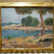 Arte: PAISAJE COSTERO POR JOSEP PEY I FARRIOL (1875-1956). Lote 34573587