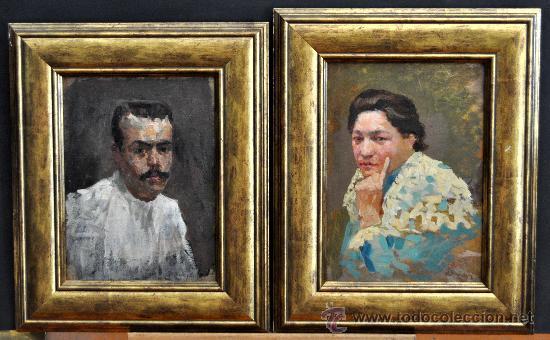 PERE YSERN ALIÉ (BARCELONA, 1875 – 1946) PAREJA DE OLEOS SOBRE TELA Y ENCOLADOS A TABLA. PERSONAJES (Arte - Pintura - Pintura al Óleo Moderna sin fecha definida)