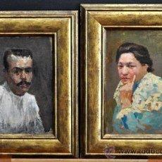 Arte: PERE YSERN ALIÉ (BARCELONA, 1875 – 1946) PAREJA DE OLEOS SOBRE TELA Y ENCOLADOS A TABLA. PERSONAJES. Lote 34588249