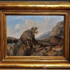 Arte: ENRIC FERAU I ALSINA (1825 - 1887) OLEO SOBRE CARTÓN DEL SIGLO XIX (DESFILADERO). Lote 34588346