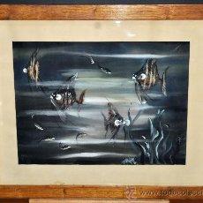 Arte: FIRMADO KARO. ESCUELA CHINA DE LOS AÑOS 50. GOUCHE PINTADO SOBRE TELA TEXTIL. COMPOSICIÓN DE PECES. Lote 34786359