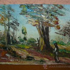 Arte: OLEO / TABLILLA ENTELADA - FIRMADO ALONSO - PAISAJE CON PERSONAJE. Lote 34644142