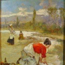 Arte: LAVANDERAS. ÓLEO/LIENZO. RICARDO BRUGADA PANIZO (1867-1919). FIRMADO Y FECHADO EN 1902... Lote 34734477