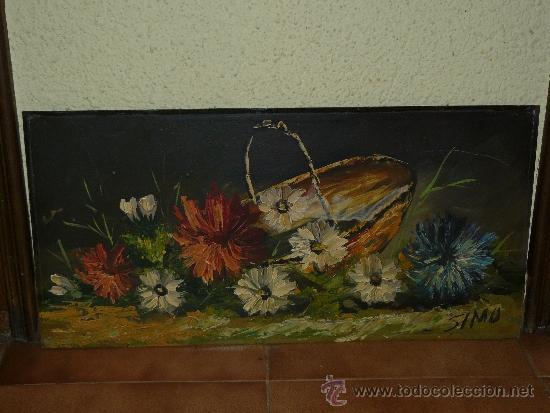 OLEO / TABLEX - FIRMADO SIMÓ - CESTO CON FLORES (Arte - Pintura - Pintura al Óleo Contemporánea )