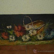 Arte: OLEO / TABLEX - FIRMADO SIMÓ - CESTO CON FLORES. Lote 34753376