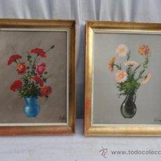 Arte: PAREJA DE CUADROS -FLORES -. FIRMADOS.. Lote 34851306