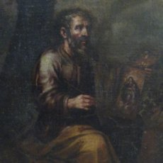 Arte: CUADRO AL OLEO QUE REPRESENTA A S. LUCAS PINTANDO A LA VIRGEN. S. XVII, PATRON DE PINTORES Y MEDICO. Lote 34232808