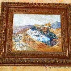 Arte: PINTURA AL ÓLEO CASTILLO PAISAJE. Lote 35063909