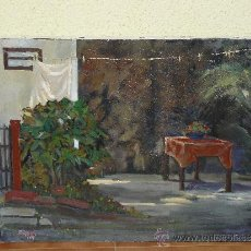 Arte: OLEO / TELA - FIRMADO J ROCA - 1987 - PATIO CON MESA. Lote 35098301