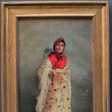 Arte: TORRES. RETRATO DE MUJER DEDICADO A CARMEN,1893. 22X40 CM. ÓLEO SOBRE MADERA. MARCO: 32X48 CM.. Lote 35170699