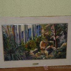 Arte: OLEO / TELA - FIRMADO M. RIERA. - ROQUES EN EL PARC -(ROCAS EN EL PARQUE). Lote 35175119