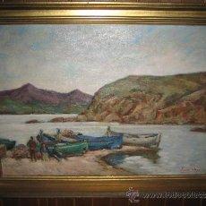 Kunst - PINTURA CATALANA. OLEO LIENZO, PLAYA DE PESCADORES Y BARCAS, JACINT (JACINTO ) OLIVE FONT. 95x65CM - 35204334