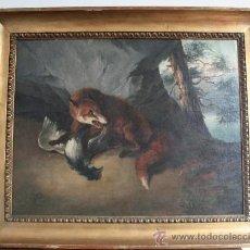 Arte: CUADRO DE LA ESCUELA ALEMANA, DE SIGLO XVIII, ESCENA DE CAZA. Lote 35256214