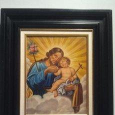 Arte: SAN JOSÉ CON EL NIÑO. ÓLEO SOBRE LIENZO. ESCUELA ESPAÑOLA S. XVIII. Lote 35468361