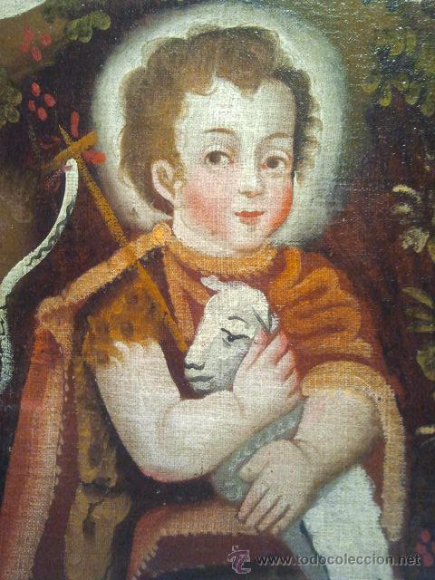 SAN JUANITO. ÓLEO SOBRE LIENZO. ESCUELA COLONIAL S. XVII. (Arte - Pintura - Pintura al Óleo Antigua siglo XVII)