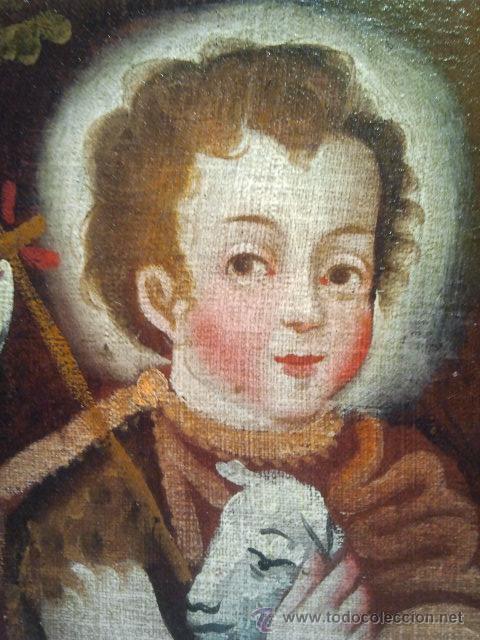 Arte: San Juanito. Óleo sobre lienzo. Escuela Colonial s. XVII. - Foto 2 - 35468836