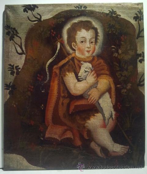 Arte: San Juanito. Óleo sobre lienzo. Escuela Colonial s. XVII. - Foto 3 - 35468836