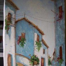 Arte: OLEO CALLES PUEBLO - AUTOR SOLBES. Lote 145361817