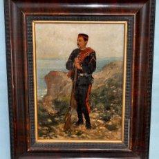 Arte: RICARDO BRUGADA Y PANIZO (BARCELONA, 1867-1919) OLEO SOBRE TABLA DEL AÑO 1892. MILITAR. Lote 35701313
