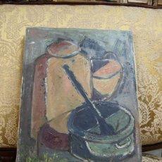 Arte: ÓLEO SOBRE LIENZO BODEGÓN DE JOSÉP VIVES MOLINS. EXPUESTO EN HOSPITALET DE LLOBREGAT EN 1953. Lote 35654256