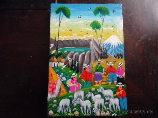 Arte: preciosa pintura al oleo miniatura sobre pellejo estirado de animal, 15 x 10 cm bastidor madera - Foto 2 - 35652279