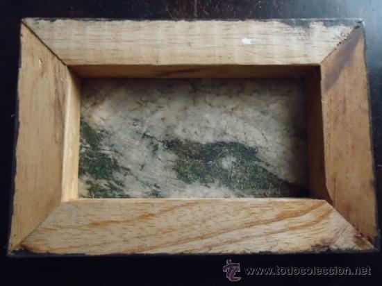 Arte: preciosa pintura al oleo miniatura sobre pellejo estirado de animal, 15 x 10 cm bastidor madera - Foto 3 - 35652279