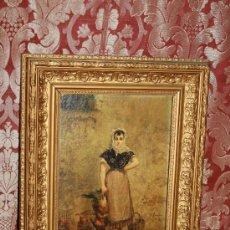 Arte: E3-020. O/CARTÓN FIRMADO 'R. AMADO' (1844-1888) REPRESENTANDO CAMPESINA .. Lote 35670552