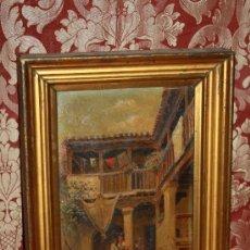 Arte: E3-022. O/T FIRMADO 'J. DEL VALLE' (1852-?) REPRESENTANDO PATIO INTERIOR GRANAINO. Lote 35670800