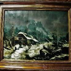 Arte: BAREND CORNELIS KOEKKOEK 1803-1862 HOLANDA PAISAJE INVERNAL CABAÑA PERSONAS FIRMADO FECHADO 1851 O/L. Lote 26488381