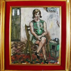 Arte: MAX GUBLER ATTR.1898-1973 SUIZA EXPRESIONISMO MUJER SENTADA EN INTERIOR OLEO/LIENZO 80X70 CMS. Lote 31128857