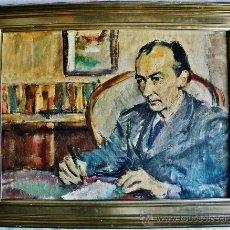 Arte: MAX GUBLER ATTR.1898-1973 SUIZA EXPRESIONISMO HOMBRE SENTADO EN INTERIOR O/L MONOGRAMA FECHADO 48. Lote 29862419