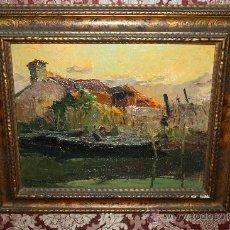 Arte: A2-061. PESCANDO EN EL RIO. OLEO SOBRE LIENZO FIRMADO -L. BONAMICI- (1878-1966). Lote 35812009
