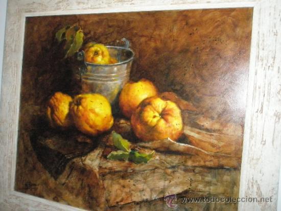 CUADRO CON MARCO AL ÓLEO-BODEGÓN MEMBRILLOS-LUIS M.ROMERO-73X63/60X50 CMS-CERTIFICADO AUTOR-NUEVO. (Arte - Pintura - Pintura al Óleo Contemporánea )