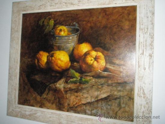 Arte: CUADRO CON MARCO AL ÓLEO-BODEGÓN MEMBRILLOS-LUIS M.ROMERO-73x63/60x50 Cms-CERTIFICADO AUTOR-NUEVO. - Foto 8 - 35820298