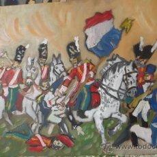 Arte: SCOTT GREY CONQUISTAN UN ÁGUILA FRANCÉS EN WATERLOO 30X50 DE CRESPO. Lote 35849804