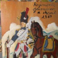 Arte: GRANADERO A CABALLO ,FRANCIA 1.807,ÓLEO TABLA DE 24X24 CM APROX. DE CRESPO. Lote 35919987