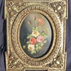 Arte: OLEO PEDRO VALLS (1840- 1896) EN PRECIOSO MARCO ESTILO ISABELINO FLORAL EN PAN DE ORO ANTIGUO. Lote 35925655