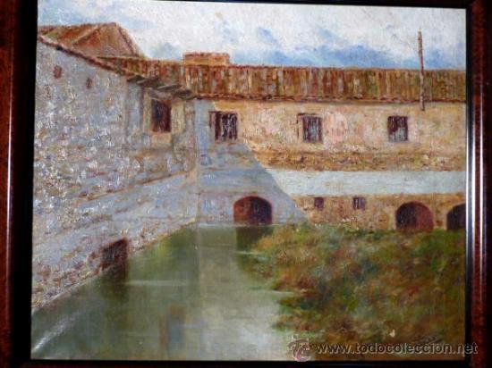 Arte: antiguo oleo sobre tela.firma ilegible. - Foto 2 - 35955574