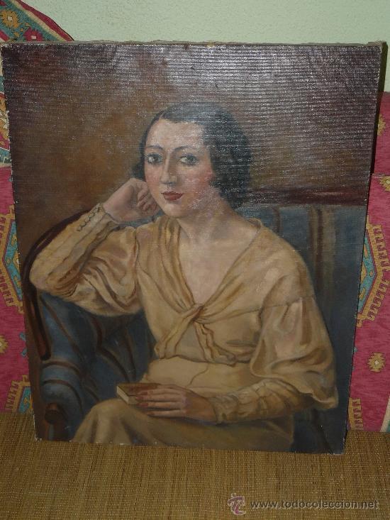 OLEO / TELA - FIRMADO D'IVORI - 1933 - RETRATO FEMENINO (Arte - Pintura - Pintura al Óleo Contemporánea )