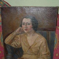 Arte: OLEO / TELA - FIRMADO D'IVORI - 1933 - RETRATO FEMENINO. Lote 35982919