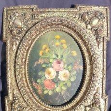 Arte: OLEO PEDRO VALLS (1840- 1896) 2 EN PRECIOSO MARCO ESTILO ISABELINO FLORAL EN PAN DE ORO ANTIGUO. Lote 36022419