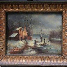 Arte: PAISAJE NEVADO, ÓLEO S.XIX FIRMA ILEGIBLE, 54X41CM. MARCO: 64X53 CM.. Lote 36039529